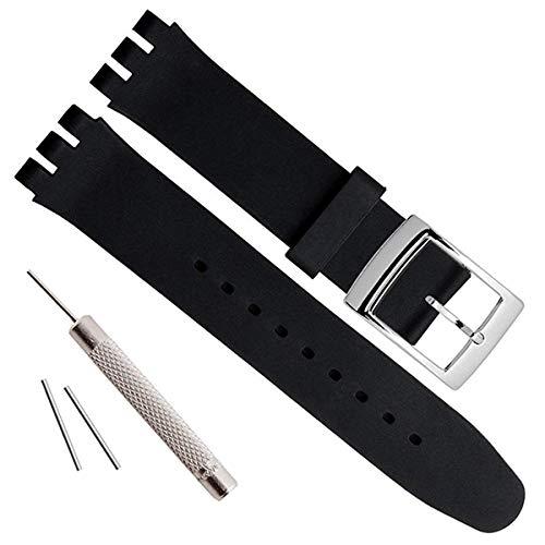 19mm Impermeabile in Silicone Orologio da Polso Cinturino con fibbia in metallo per Swatch, Black