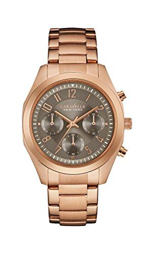 Caravelle New York Damen-Armbanduhr BOYFRIEND Chronograph Quarz Edelstahl beschichtet 44L198