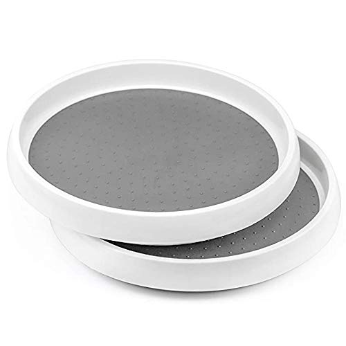 2 Pack Lazy Susan Organizer, Rotatable Spice Rack, Turntable Condiment...