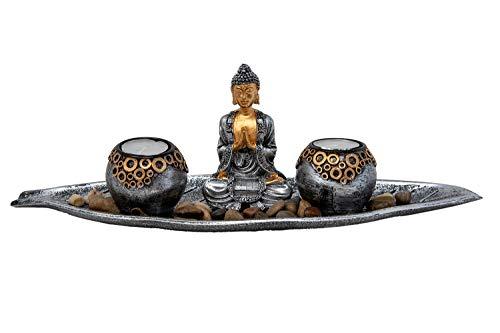 Portavelas de Buda con 2 velas de té, decoración de mesa para salón o decoración de 40 cm