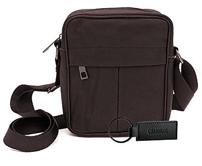 Charmoni® - chmn40 Sac pochette sacoche - bandoulière réglable - légère et Multi poches - en cuir véritable Homme