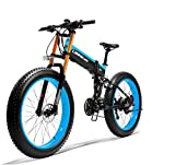 LANKELEISI XT750 PLUS Bicicleta eléctrica, bicicleta eléctrica para adultos con motor sin escobillas de 1000 W, 48V 14.5AH con dispositivo antirrobo (azul, batería de repuesto)