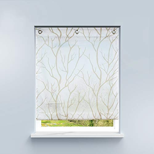 HongYa Raffrollo ohne Bohren Transparente Raffgardine Voile Ösenrollo Küche Kleinfenster Gardine mit Hakenösen Äste Muster H/B 140/100 cm Weiß Sand