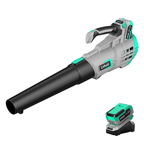 Litheli 20V Cordless Battery Leaf Blower, 4.0Ah Battery, Variable Speed for Garage, Garden, Yard, Lawn, Deck, Driveway