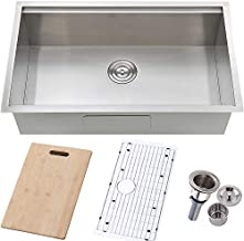 VALISY 32x19 Inch SUS304 Stainless Steel Commercial Workstation Deep Undermount Single Basin Kitchen sink, Kitchen Sinks Combo with Dish Drainer & Cutting Board & Basket Strainer & Bottom Grid