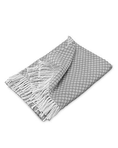 myHomery Sommerdecke Ornamente leicht und kuschelig - Wolldecke mit Fransen - Kuscheldecke Design – Sofadecke modern - Decke Baumwolle - Anthrazit | 130 x 170 cm