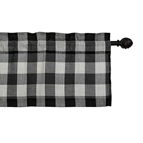 CreativesfunBuffalo Check Plaid Gingham Custom Fit Window Curtain Treatments Rod Pocket (Black & White, Valance 丨W53 X L12-INCH)