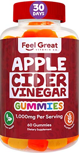 Feel Great Vitamin Co. Apple Cider Vinegar Gummies for Kids & Adults | Natural Detox, Digestive Support, Appetite Suppressant Supplement* | Includes