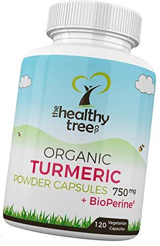 Gélules de Curcuma Bio + Extrait de poivre noir Piperine - Haute résistance 750mg par capsule - 100% pure et naturelle Curcuma Gélules Bio par TheHealthyTree Company