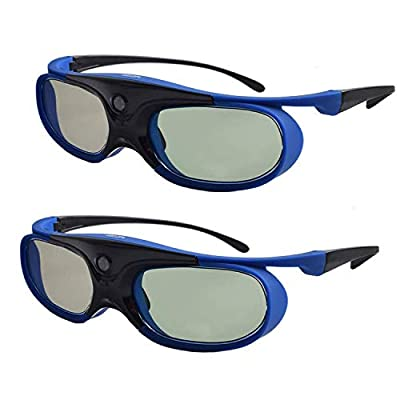 Active Shutter 3D Glasses, Cocar 3D DLP Link Glasses Rechargeable 3D Eyewear for Acer ViewSonic BenQ Optoma Cocar Toumei Philips Panasonic Vivitek Dell 3D Projectors Blue Color - Pack of 2