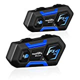 Fodsports FX4 Pro Bluetooth Motorcycle Headset,1200m Universal Motorcycle Intercom Helmet Communication System up to 4 Riders, Waterproof Wireless Interphone with Boom & Soft Mic(2 Pack)
