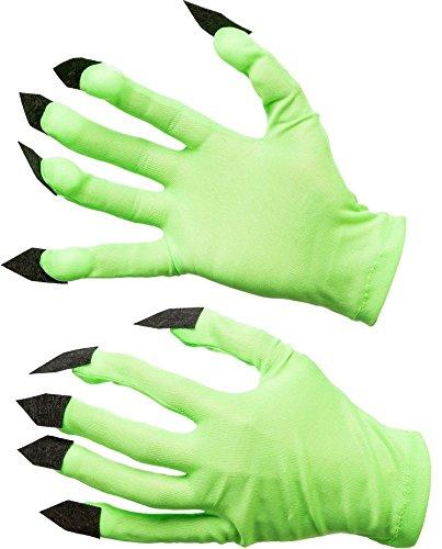 Fasching Halloween Handschuhe grün mit Krallen - Alien/Monster/Hexe
