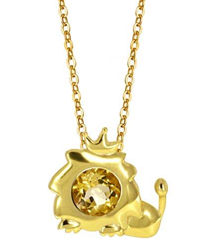 BeyDoDo Modeschmuck 925 Sterling Silber Damen Halskette mit Anhänger Zirkonia 12 Konstellation Zodiac Löwe Gelb Kette