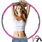 フラフープ ダイエット 大人 子供兼用 3点セット 縄跳び・テーラーメジャー付き 組み合わせ自由 8本 直径76、88、96cm対応 3サイズ調整可能 ウエスト 引き締め 有酸素運動 新体操 用品 1.2kg (ピンク+グレー)