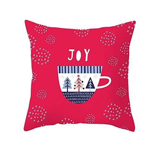 Jingpyij Fodera per Cuscino Cuscini Divano Natale Rosso Velluto Morbido Decorativa Quadrati Federa con Stampa Fronte-Retro per Sedia Camera da Letto Auto Copricuscini M4518 Pillowcase+Core,40x40cm
