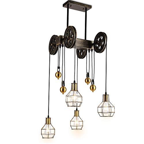Lámpara colgante de polea de cuatro luces, lámpara de isla interior ajustable, lámpara de araña rústica vintage industrial, accesorio de luces de techo vintage de granja