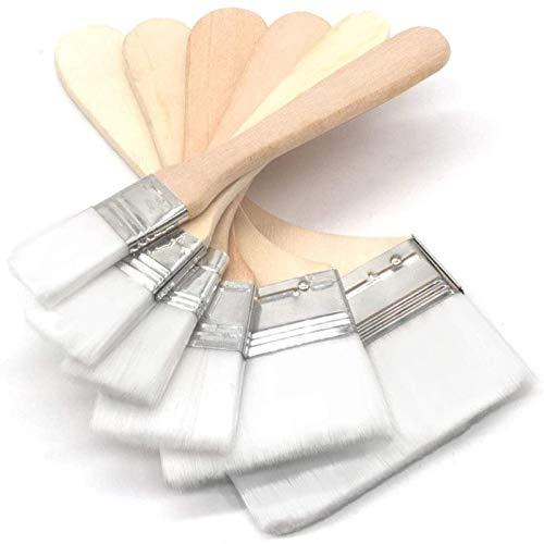 多用途刷毛ペイントブラシ選択可能な 6サイズ ナイロンブラシ 、木製家具の塗装、 掃除、油絵、バーベキュー塗料、塗装修理に最適 (ホワイト)