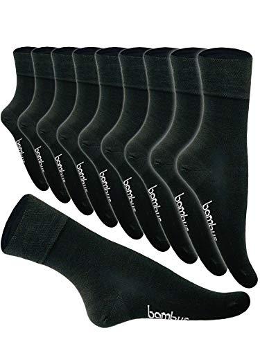 5-10 Paar Bambus Socken Herren Bambussocken Normallang Damen (43-46, 10 Paar Anthrazit)