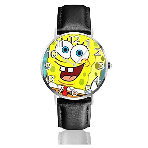 Smile Spongebob Squarepants Reloj Unisex de Cuarzo analógico de fácil Lectura de 38 mm con Correa de Cuero