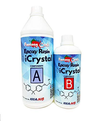 iCrystal - 1.5 KG Résine Époxy Transparente non Toxique - Bicomposant A+B, Effet d'Aau, Polissage, Pour Créations Artistiques, Restauration, Carrelage Mural, Revêtement de Sol, Modelage