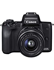 Canon ミラーレス一眼カメラ EOS Kiss M 標準ズームキット ブラック EOSKISSMBK-1545ISSTMLK
