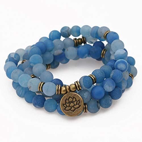 Maniny 108 Pulseras de ágata Azul Lago Natural - Cuentas de oración Collar con Colgante Lotus Buddha - 8 mm elástico Pulsera Budista de Yoga Blue Agate Bracelet/Tree of Life Pendant