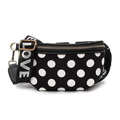LUOSI Fashion Fanny Pack DOT Donne Marsupio Cintura Casual Lettera Phone Pouch Designer Tracolla Hip sac A Main Bag (Color : Black, Size : One Size)