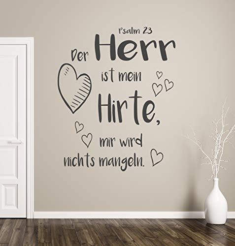 tjapalo® pk234 Wandtattoo Der Herr ist mein Hirte Wandtattoo Wohnzimmer Spruch Psalm 23 Wandtattoo christlich, Farbe: dunkelgrau, Größe: H80xB58cm