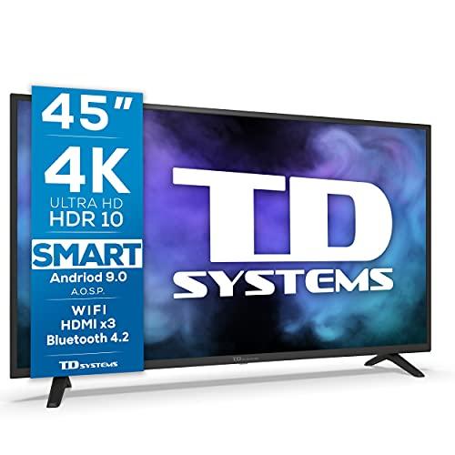 Oferta de TD Systems K45DLJ12US - Televisores Smart TV 45 Pulgadas 4k UHD, Android 9.0 y HBBTV, 1300 PCI Hz, 3X HDMI, 2X USB. DVB-T2/C/S2, Modo Hotel. Televisiones