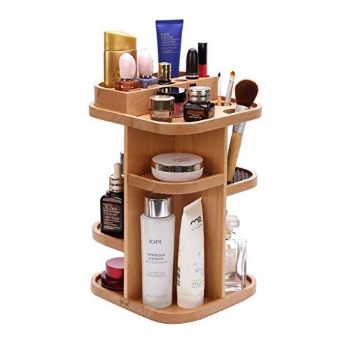 Rack de stockage cosmétique, boîte de rangement cosmétique rotative coiffeuse de finition de bureau produits de soins de la peau rack rack de stockage de bois solide multifonctionnel