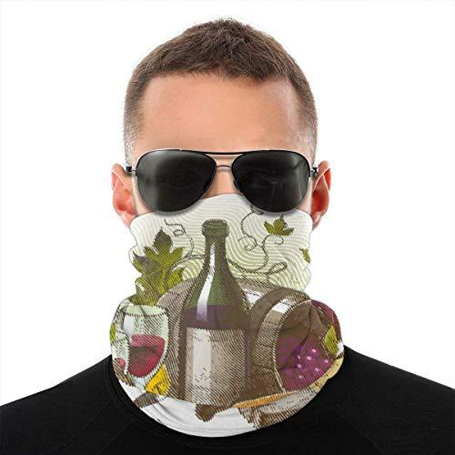 Quintion Robeson Vintage-Stil Zusammensetzung mit Wein und Käse Früchte Gourmet-Geschmack Getränke und Lebensmittel Vielfalt Kopftuch Bandana Stirnband