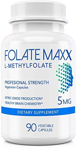 FolateMaxx L-Methylfolate 5 mg (90 Capsules)] Professional Top Quality Active Folate ] Non-GMO, Gluten Free ] Methyl Folate, 5-MTHF