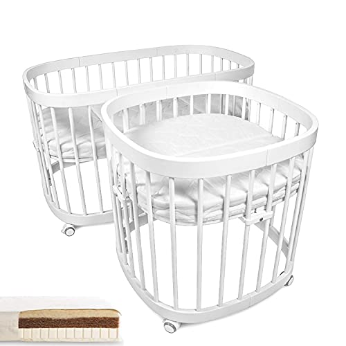tweeto® Babybett Kinderbett 7-in-1 (Plus)   mit 10 Funktionen   inkl. atmungsaktiver Matratze (Weiß)