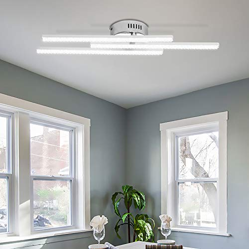 ALLOMN Luz de Techo LED, Lámpara Araña Lámpara Techo Diseño Cristal Moderno con 3 Piezas de Luz para Sala estar Dormitorio Comedor (Cristal 18W 3 Luz Blanco Frio)