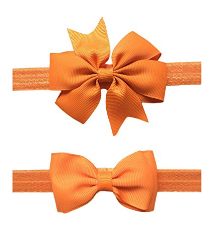 2pc/Set Baby Girls Grosgrain Ribbon Hairband Set Ribbon Bows Hair Tie Headband JB10 (11-Orange)