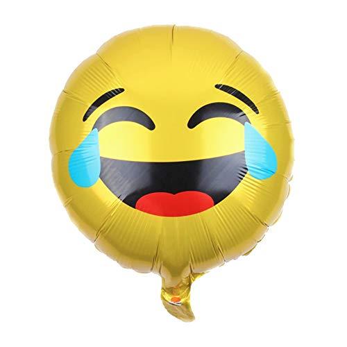 DIWULI, Emoji Luftballon Haha, gelber Smiley Folien-Luftballon Tränen lachen, lustiger Emoticon Folien-Ballon für Geburtstag, Kindergeburtstag Junge Mädchen, Party, Dekoration, Geschenk-Deko, DIY