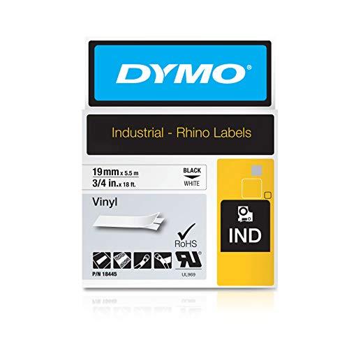 Dymo Rhino etichette industriali in vinile autoadesive, rotolo da 19 mm x 5,5 m, stampa nera su bianco, 18445