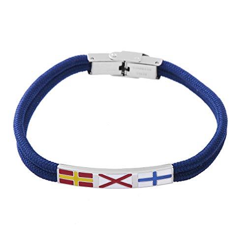 inSCINTILLE Pulsera de Hombre de Acero con Hilo Azul y Banderas náuticas