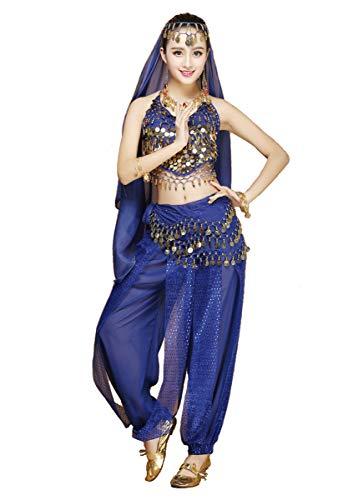 Grouptap Womens danzatrice del Ventre 4 Pezzi Vestito Costume Set con Il Massimo dei Pantaloni Testa Velo Sciarpa dell'anca per Ballare Egiziano Arabian (Viola)