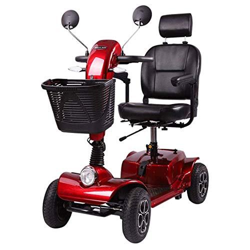 AMINSHAP Elektrisch inklapbare mobiele scooter, 4-wiel-snelle, elektrische powerscooter, pride mobility, met armleuning, afneembare basket en ledlampen, 32 Ah, loodzuuraccu 350 W motor