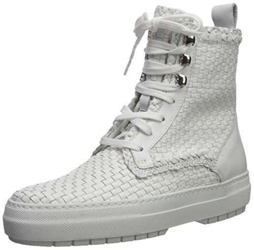 Aquatalia Women's TESS Woven Leather Sneaker, White, 9.5 M US