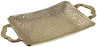 Aatm Brass Handicraft Designed Embossed Serving Plate with Handle Shape Figurine for Home Décor and Gifting