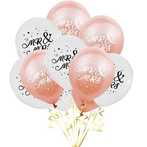 Oblique Unique® 10 Luftballons Mr & Mrs für Hochzeit Feier Party Deko Hochzeitsdeko Hochzeitsfeier Hochzeitsgeschenk Weiß Roségold