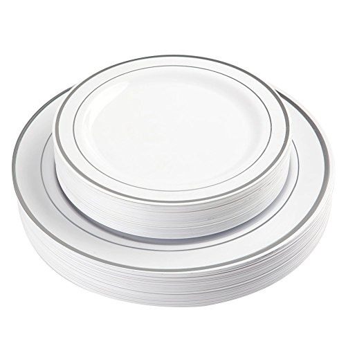 ​​BloominGoods​ ​5​0 Silver Rimmed Plastic Plates ​| Disposable White Heavy Duty​ Plates | 25 Dinner​, ​25 Dessert/Appetizer Plates​ ​| Premium Combo Disposable Dinnerware Set | ​For Weddings, Parties