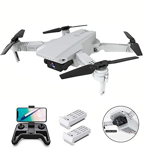 OBEST Mini Dron con Cámara 4K HD, Dual Cámara Posicionamiento de Flujo óptico, Altitude Hold, Modo sin Cabeza, Vuelo de Trayectoria, 2 Baterías, Vuelo de 24-30 Minutos, para Principiantes, Blanco