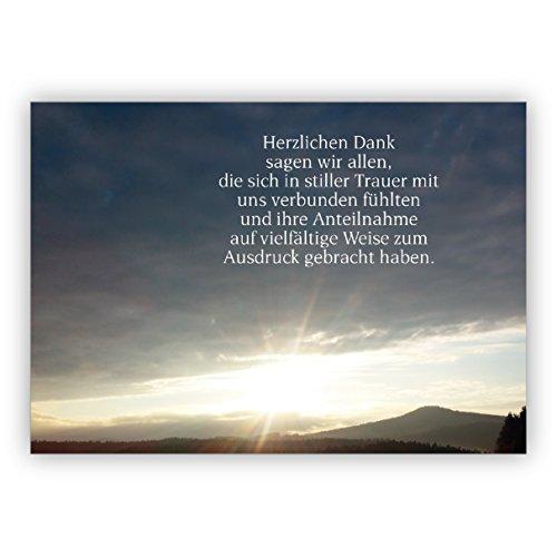 Trauer Dankeskarte inkl Umschlag mit Foto Abendstimmung: Herzlichen Dank sagen wir allen, die sich in stiller Trauer mit uns verbunden fühlten und ihre Anteilnahme.   Danksagungs-Karte Trauerfall