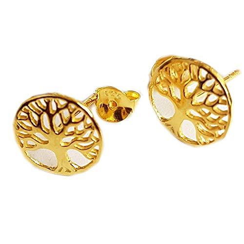 Pendientes Claro Schmuck'árbol de la vida' bañado en oro, (10mm) pendientes-joyería de mujer Boho.