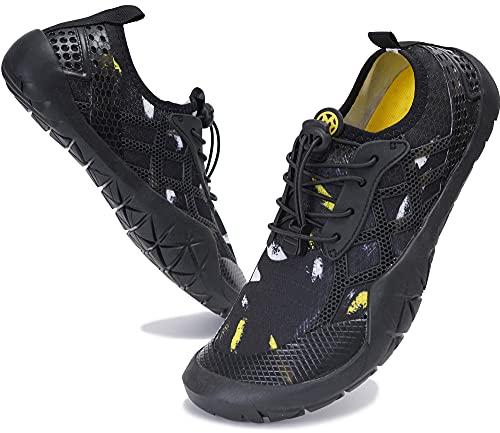 Zapatos de Agua Hombre Mujer Zapatillas de Deportes Acuaticos Calzado de Natación para Buceo Snorkel Surf Piscina Playa Vela Mar Secado Rápido, 028 Negro, 39 EU