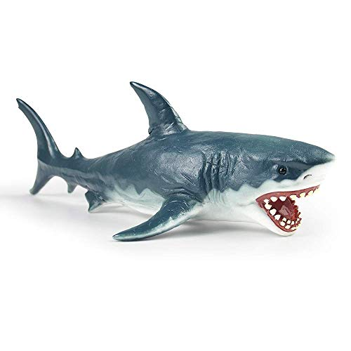 RECUR Great White Shark Figure Toy 102inch Realistic Megalodon Shark Toys for 3-4-5-6-12 year old boys toddlers Hand-Painted Plastic Shark Figurine Collection 1:20 Scale Ideal for Collectors Ages 3+