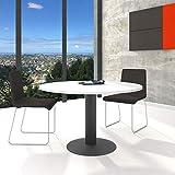 Optima - Tavolo rotondo per riunioni, Ø 120 cm, colore: Bianco